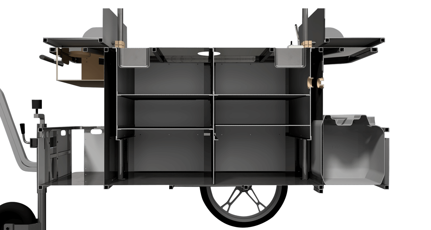 Bizz On Wheels basic coffee cart interior compartments