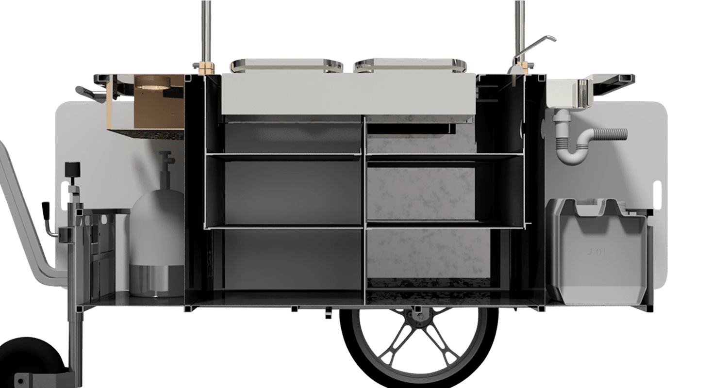 Bizz On Wheels crepe cart interior compartments