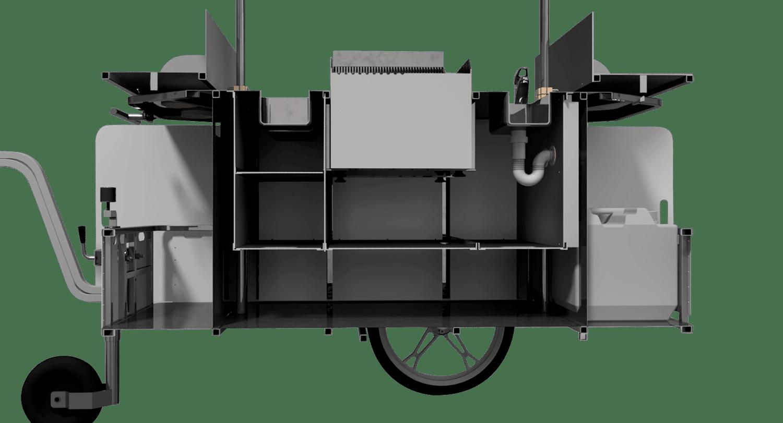 BizzOnWheels BBQ & grill cart interior compartments