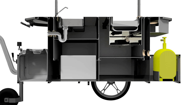BizzOnWheels hot dog cart interior compartments