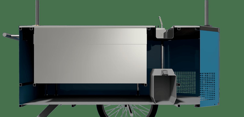 BizzOnWheels Pozzetti gelato cart interior compartments