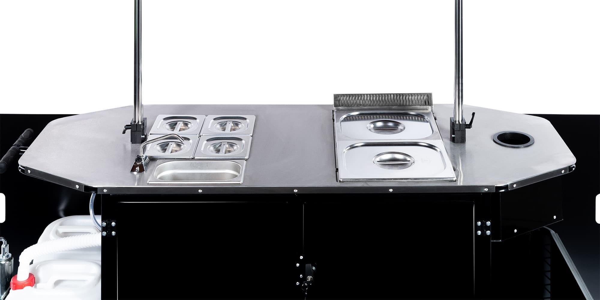 BizzOnWheels hot dog cart countertop equipment and features