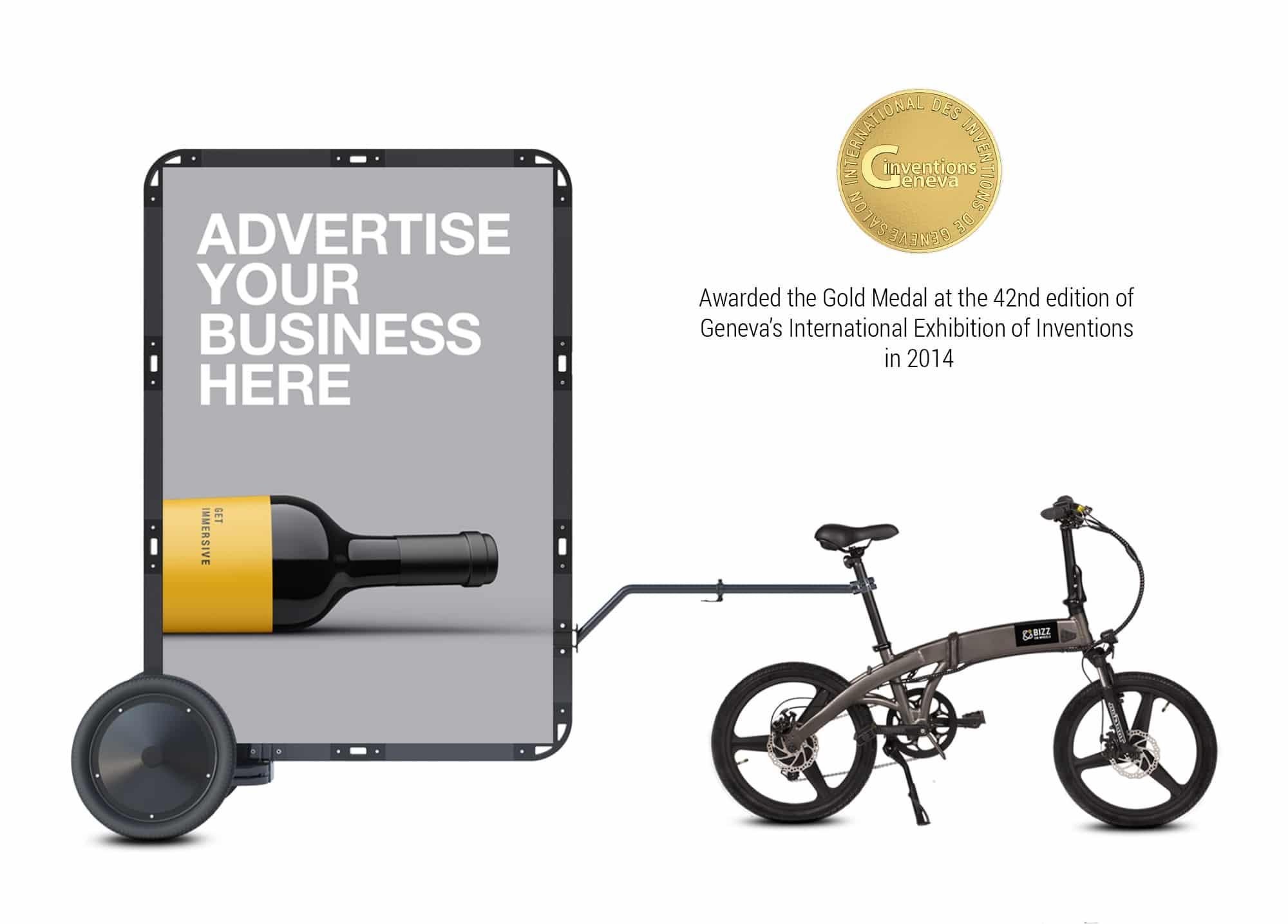 AdBicy mobile billboard and advertising bike trailer