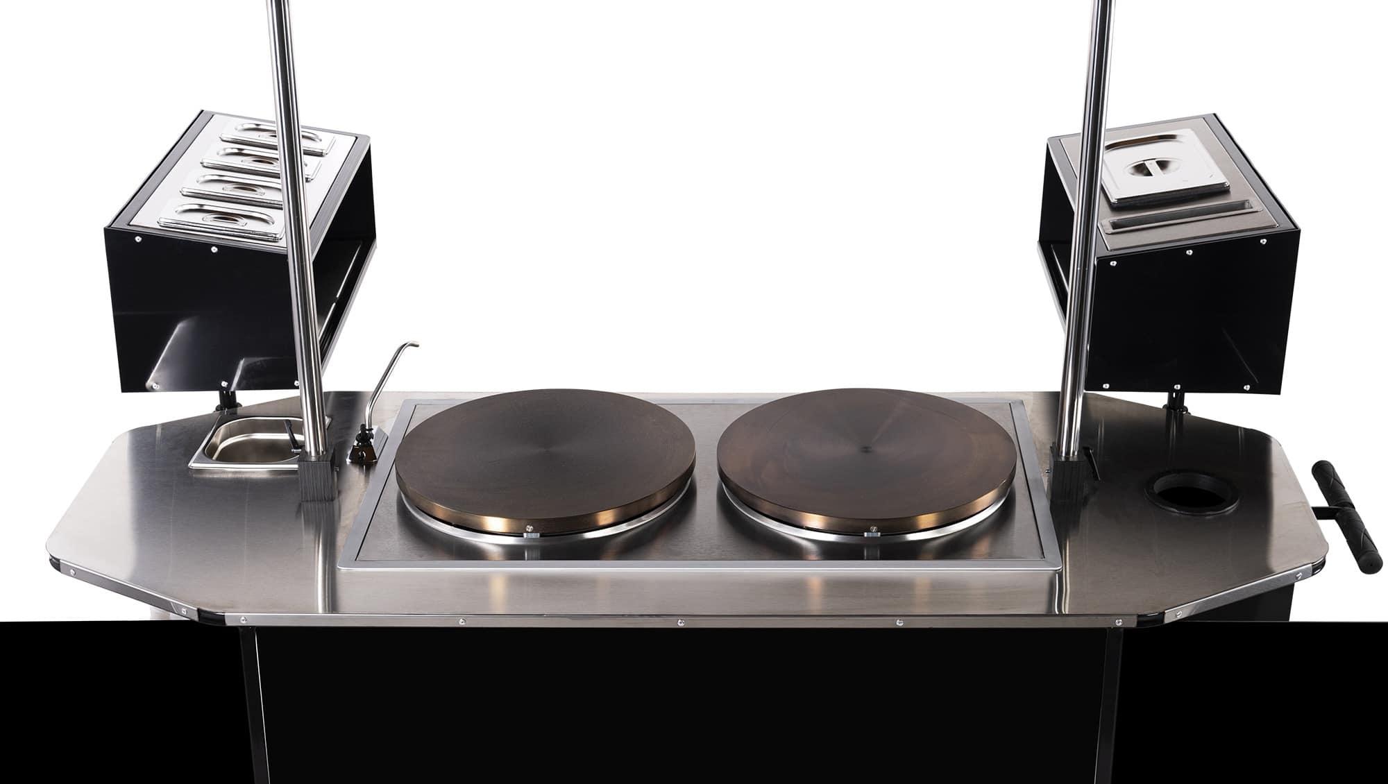 BizzOnWheels crepe cart countertop equipment and features
