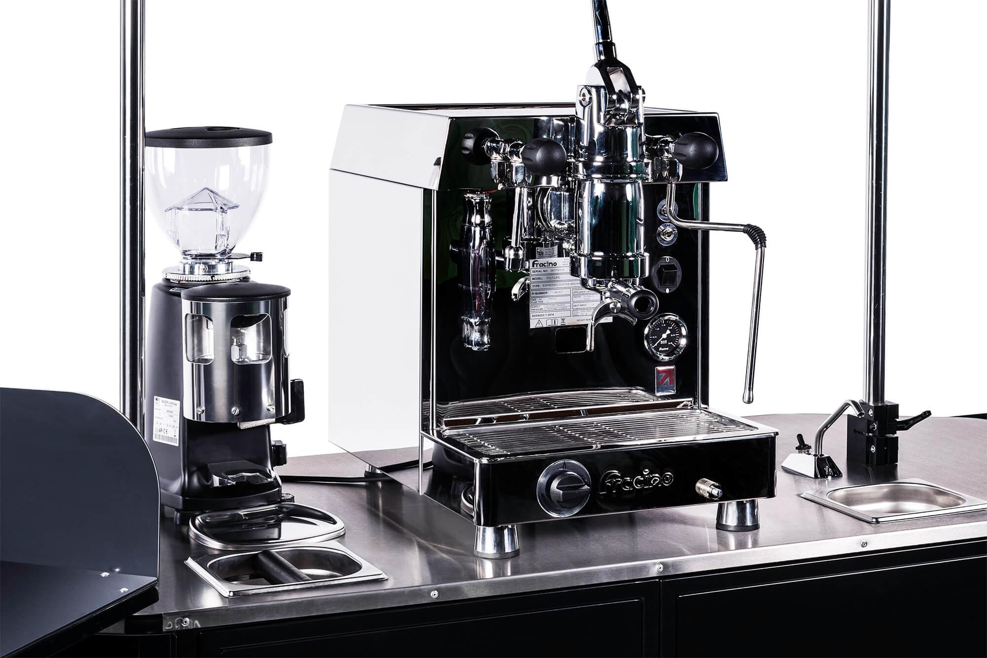 Premium coffee cart countertop close-up