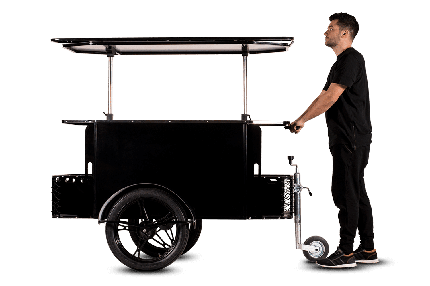 BizzOnWheels vending cart in push cart mode