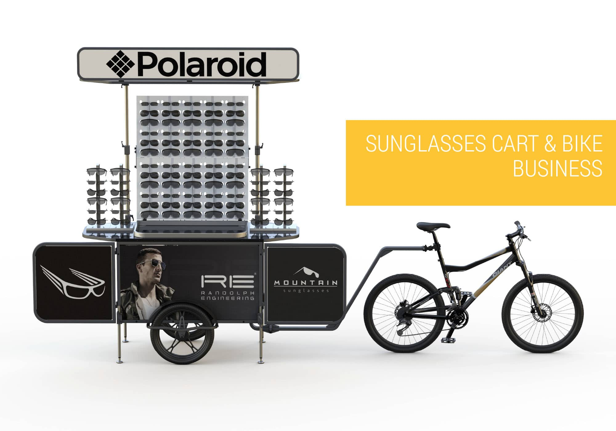 Sunglasses cart and sunglasses bike business Bizz On Wheels
