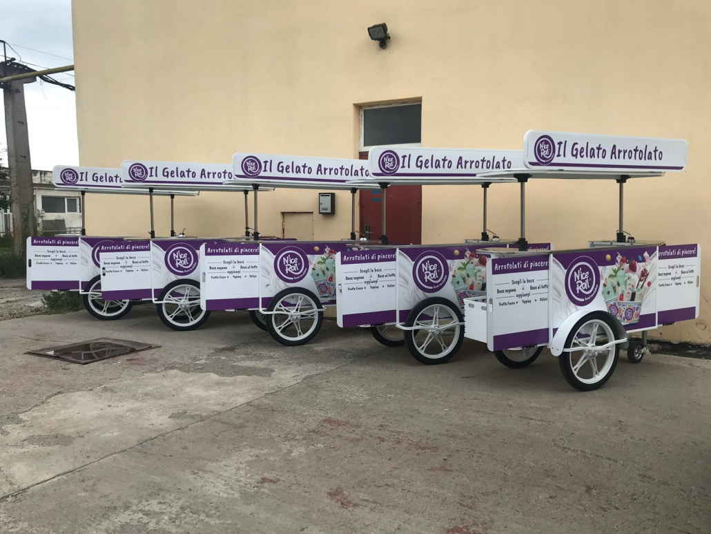 Custom roll ice cream cart by Bizz On Wheels