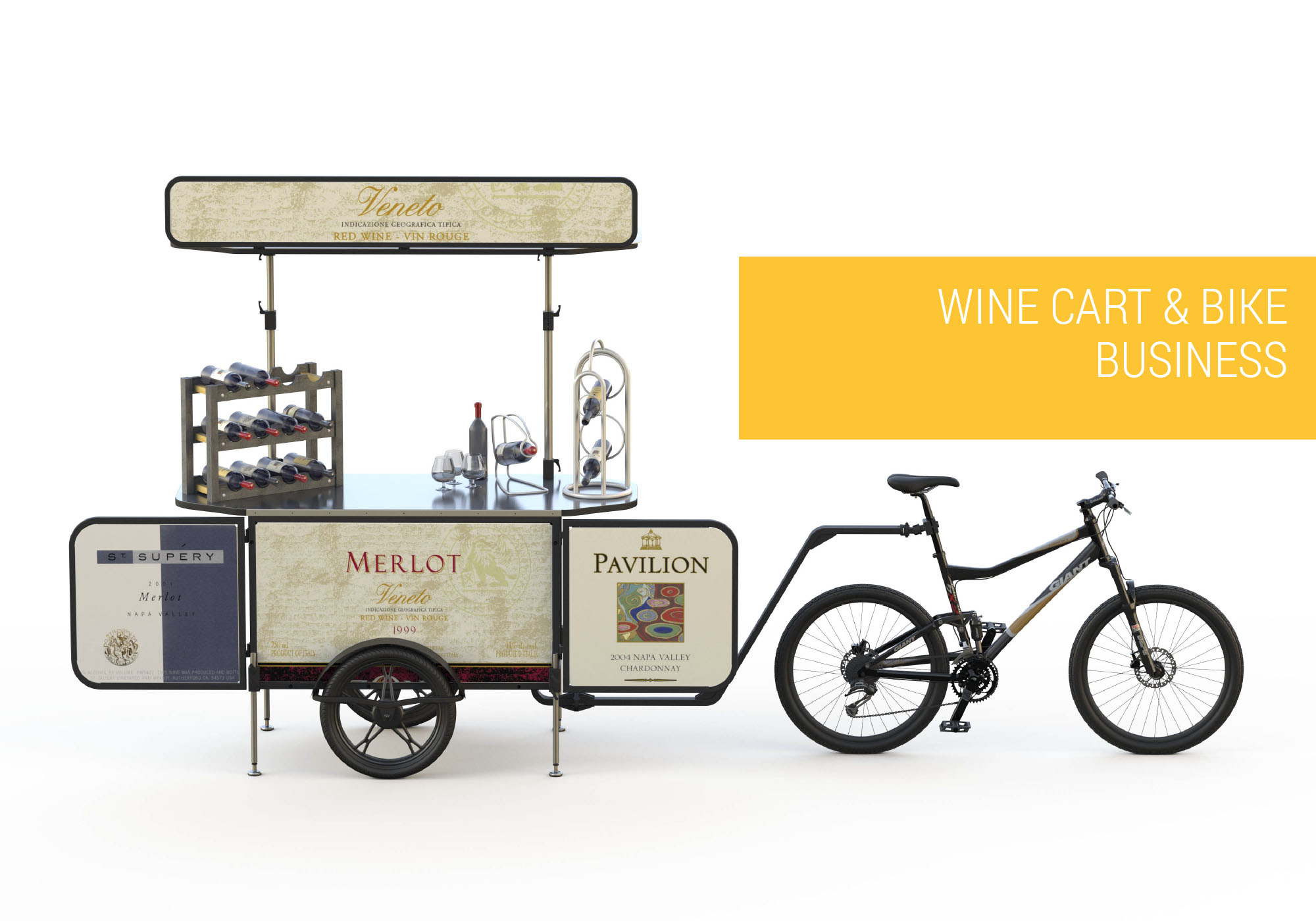 Wine cart and wine bike business Bizz On Wheels