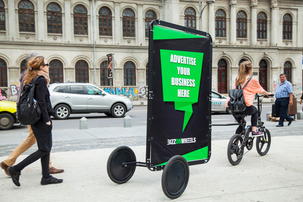 Ad bike with AdBicy mobile billboard for outdoor advertising