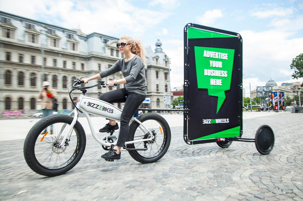 Ad bike with outdoor mobile billboard