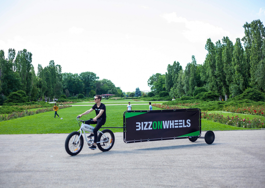 AdBicy bike billboard in large landscape layout