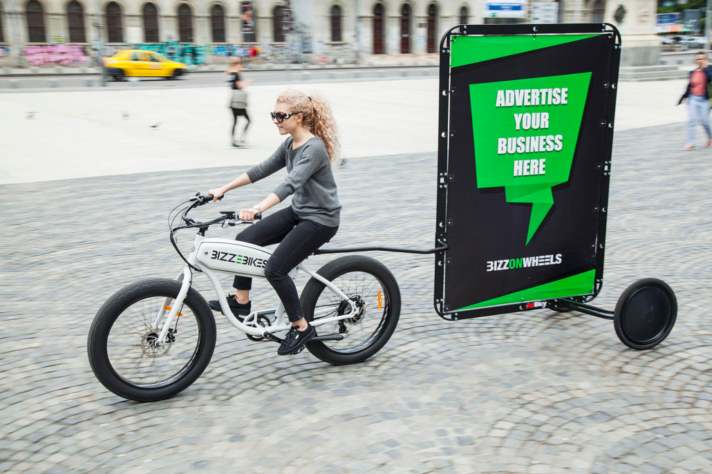 AdBicy mobile billboard for advertising bikes