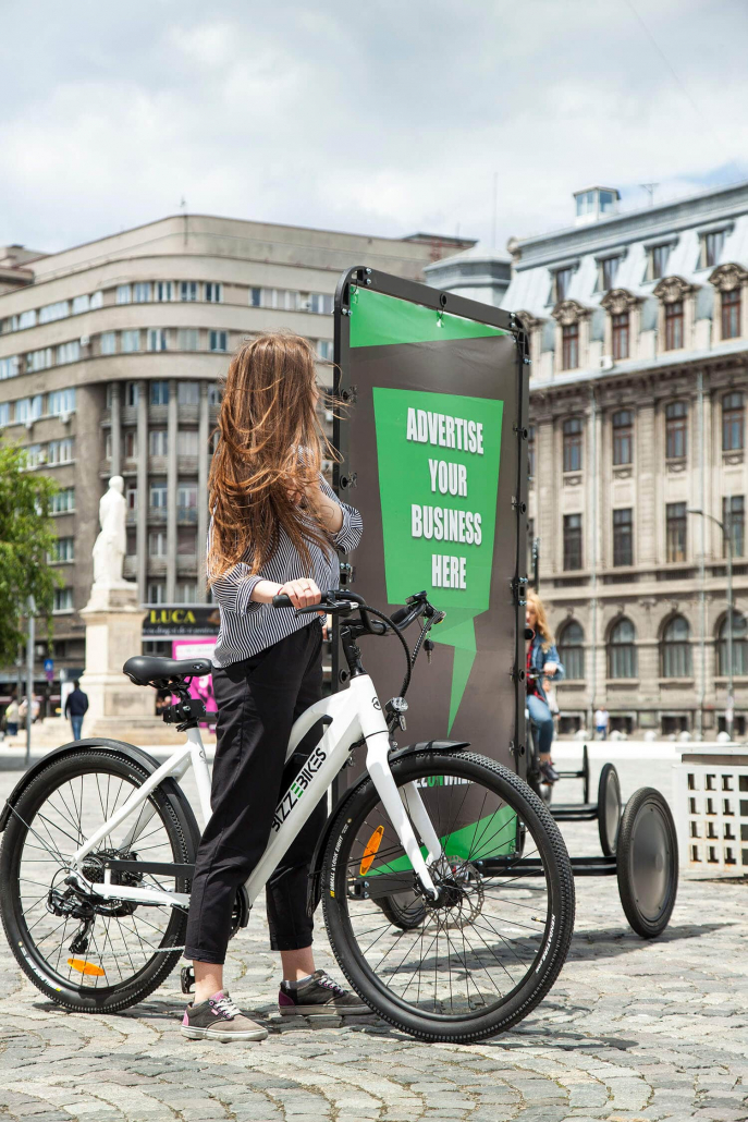 Bike advertising trailer and brand ambassador outdoor advertising