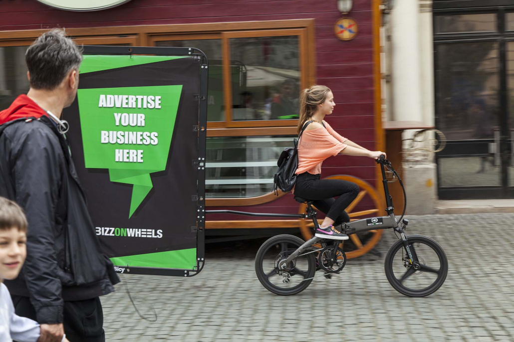 City adbike with AdBicy bicycle billboard