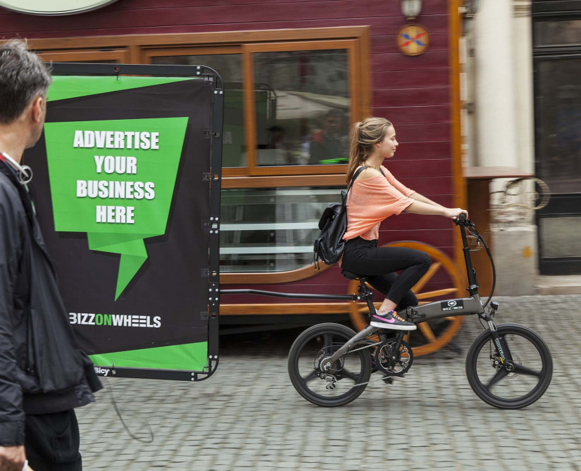 City adbike with AdBicy bicycle billboard