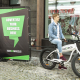 City advertising with bike advertising trailer