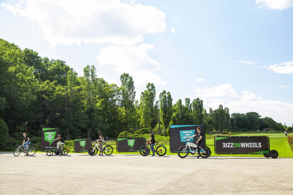 Electric adbikes with AdBicy mobile billboards