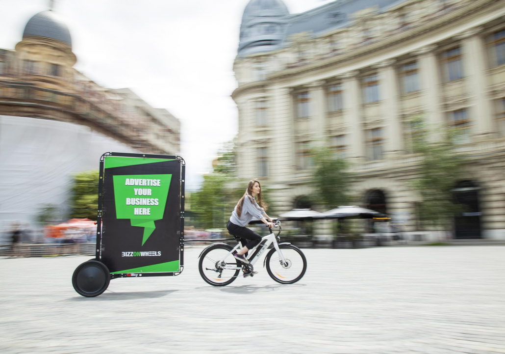 Electric advertising bike with outdoor media for street advertising