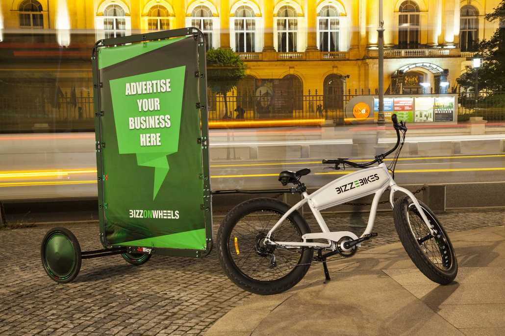 Electric advertising bike with AdBicy billboard
