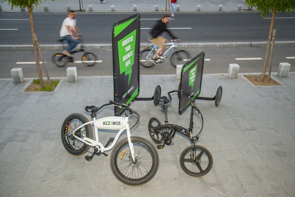 Electric advertising bikes with AdBicy bike advertising billboards