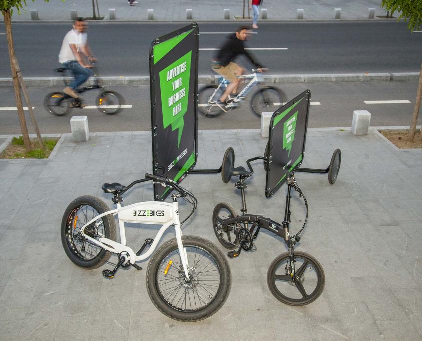 Electric advertising bikes with AdBicy bike advertising billboards