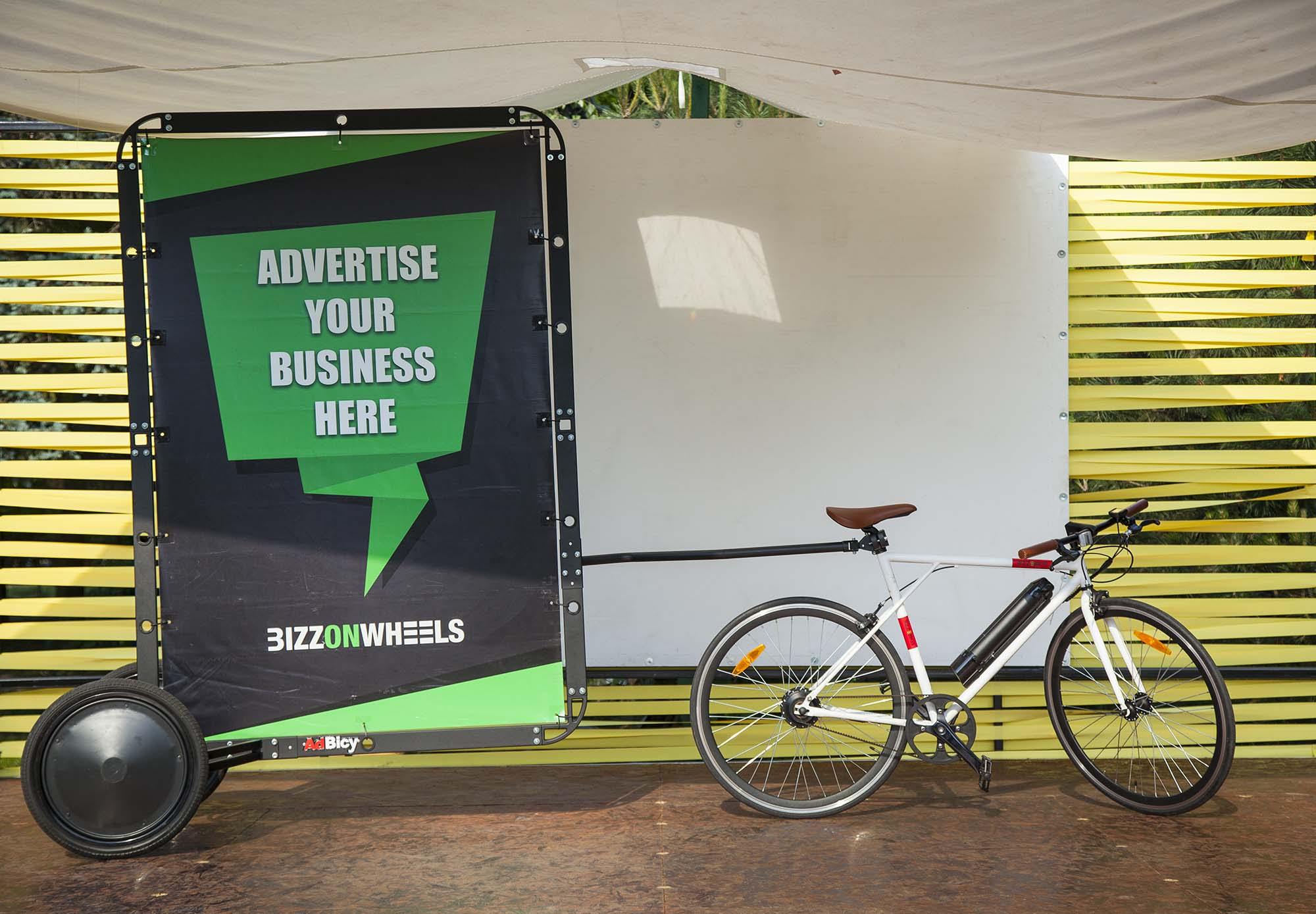 Electric bicycle with AdBicy bicycle billboard