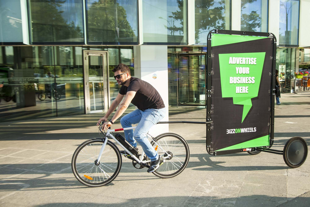 Outdoor media bike advertising trailer