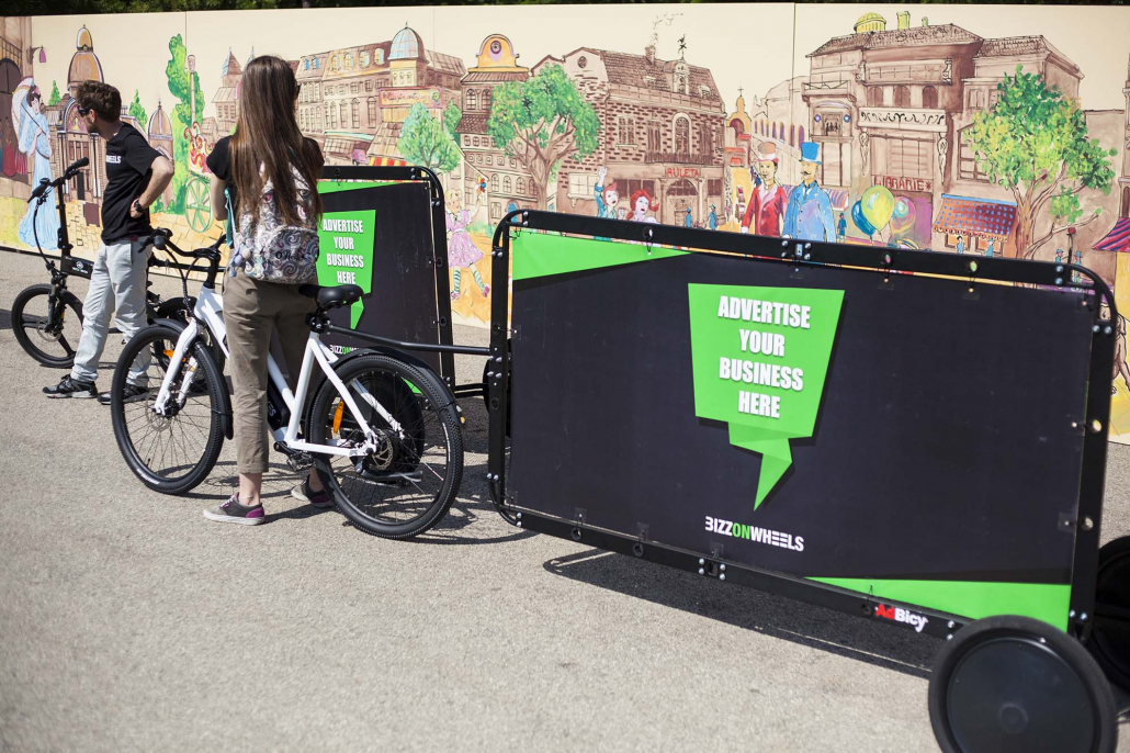 OOH advertising bike trailers by Bizz On Wheels