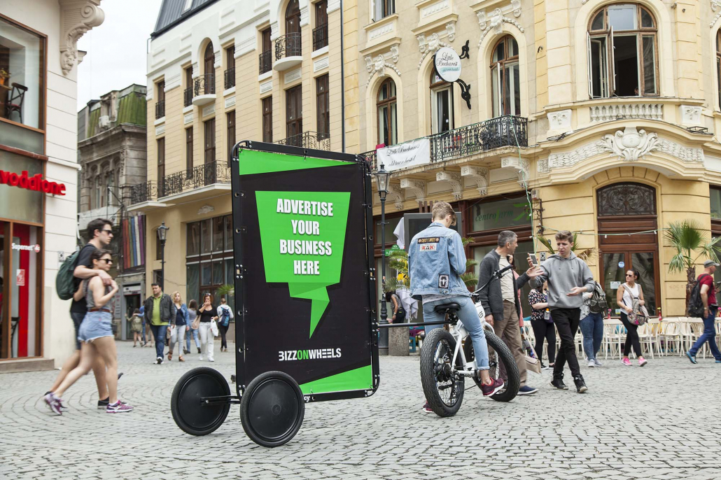 Outdoor media advertising bike trailer