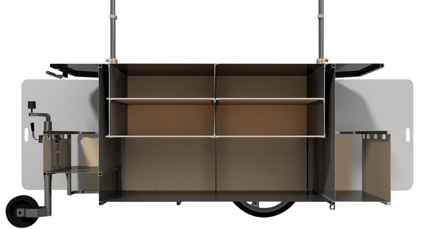 Extra large vending cart with interior storage by Bizz On Wheels