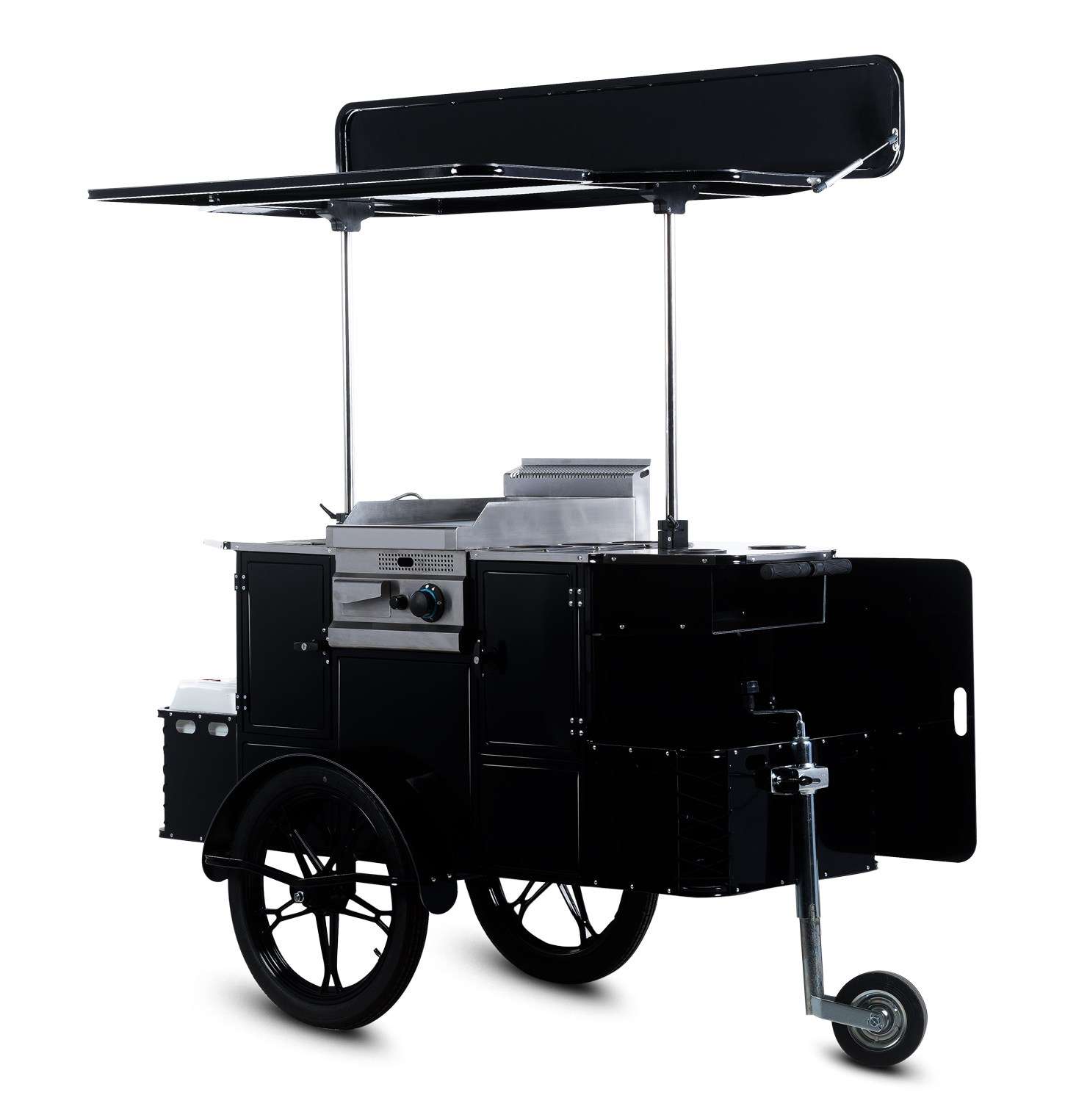 Bizz On Wheels BBQ and grill cart side view
