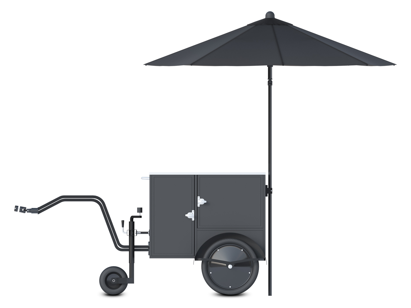 Small street vending cart towable by bicycle