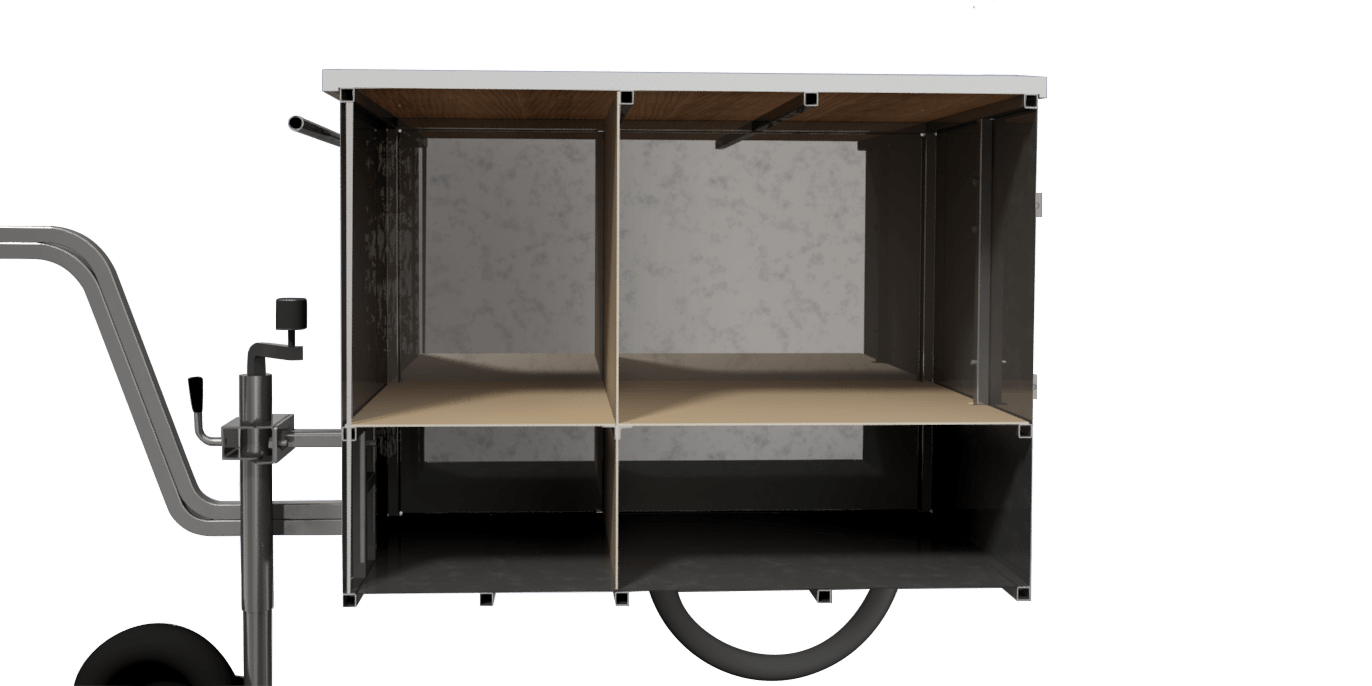 Small food vending cart with interior storage