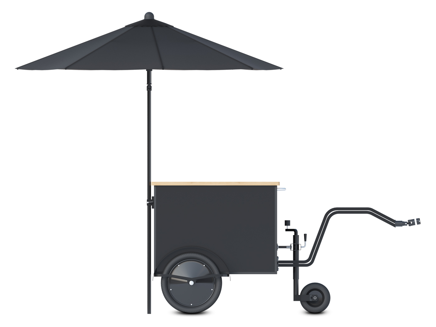 Small food vending cart with wooden countertop by Bizz On Wheels