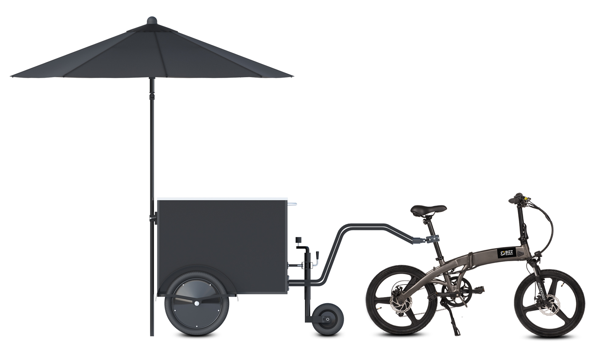 Small food vending cart towable by bicycle