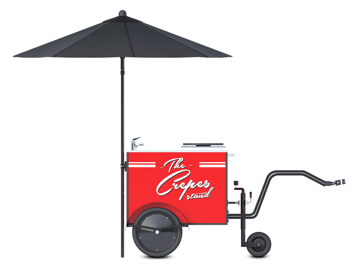 Small crepe cart manufactured by Bizz On Wheels