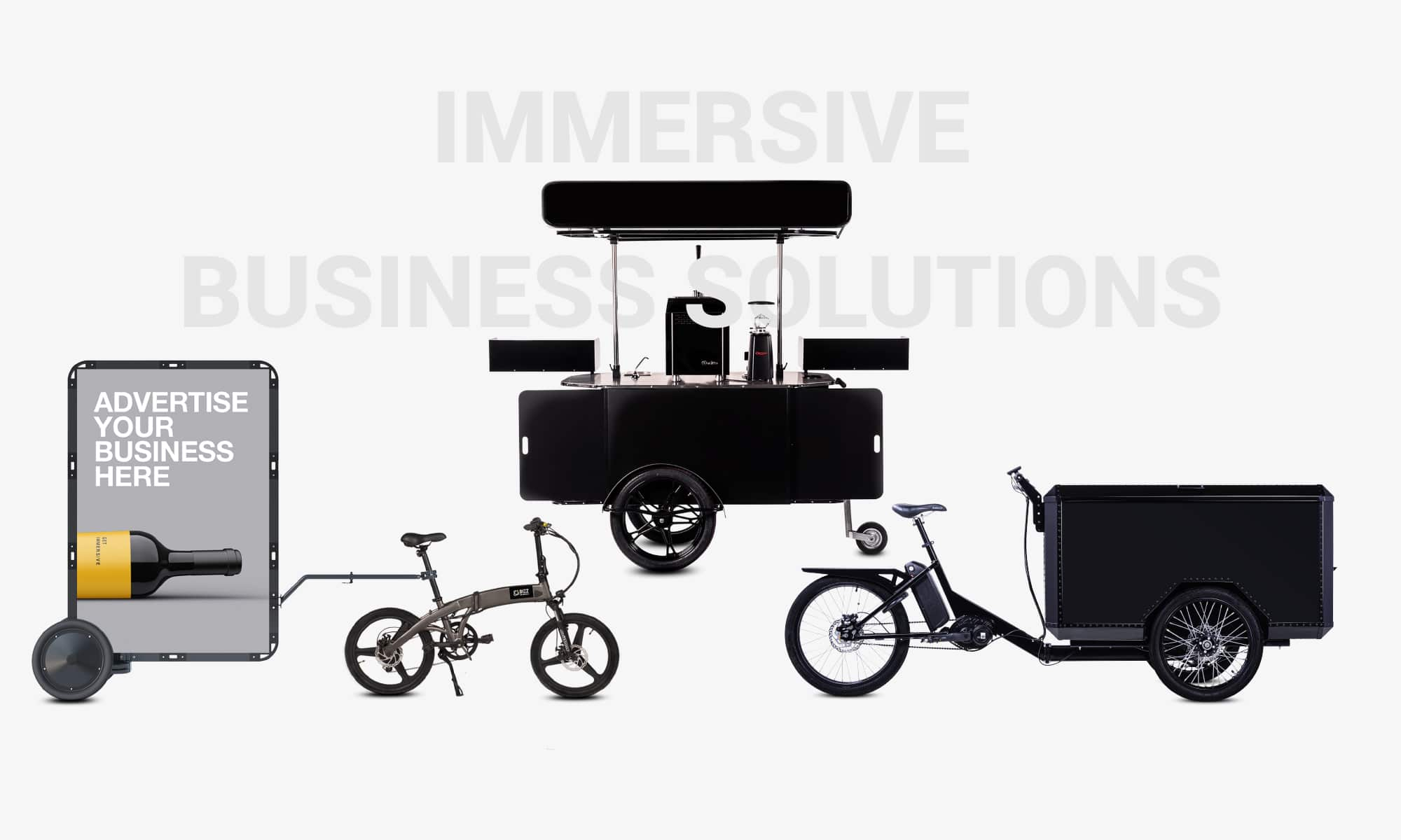 Food carts cargo bikes and mobile billboards by Bizz On Wheels