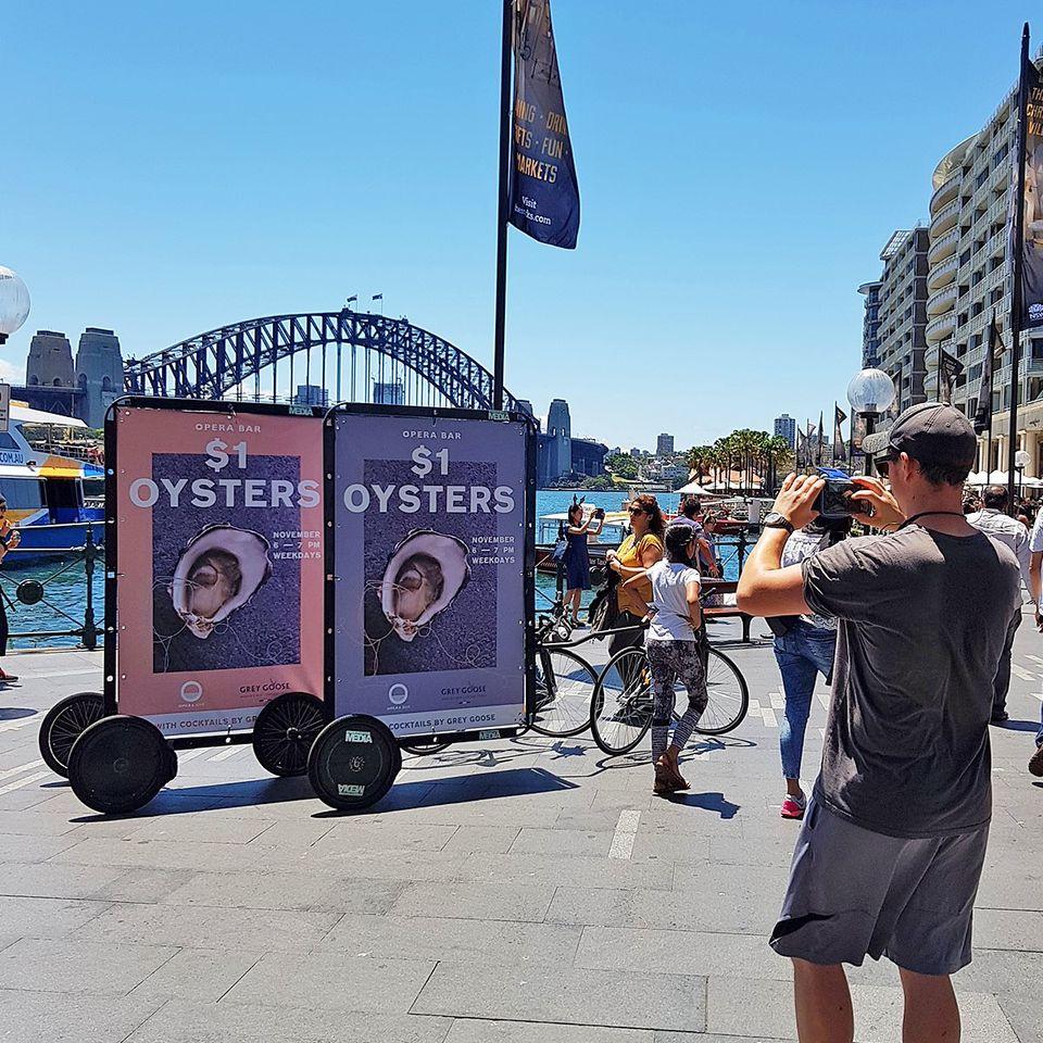 Bike advertising with AdBicy mobile billboard