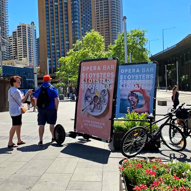 Guerilla marketing with AdBicy bicycle billboard
