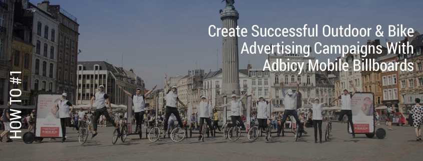 Outdoor bike advertising campaigns with AdBicy bicycle billboards