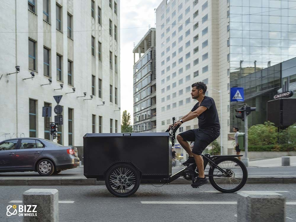 Front load electric cargo bike by Bizz On Whee;s