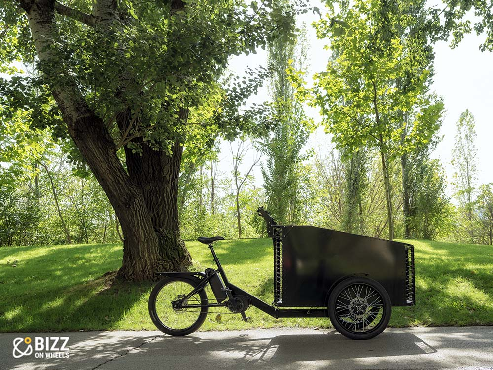 Open case cargo e-bike with three wheels